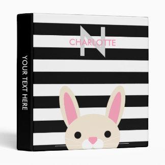 Cute Bunny Custom Name & Initial Binder
