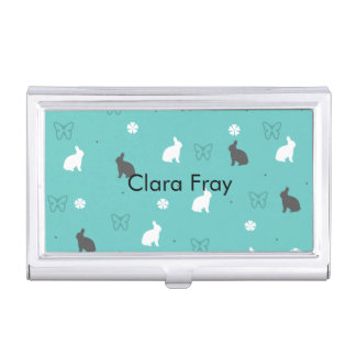 cute bunny flower and butterfly pattern business card holder