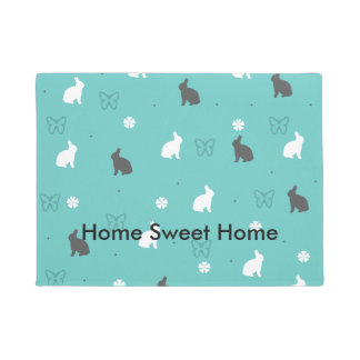cute bunny flower and butterfly pattern doormat