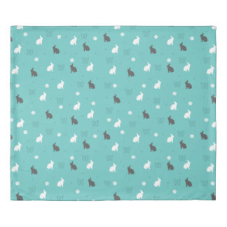 cute bunny flower and butterfly pattern duvet cover