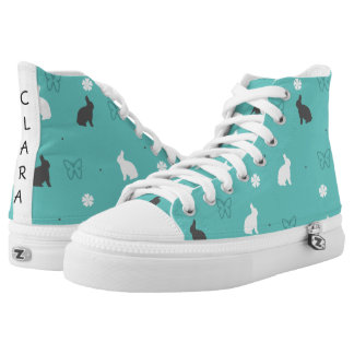 cute bunny flower and butterfly pattern high tops