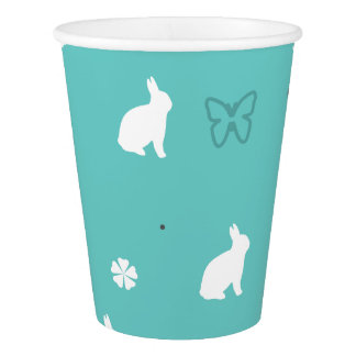 cute bunny flower and butterfly pattern paper cup