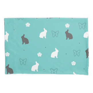 cute bunny flower and butterfly pattern pillowcase