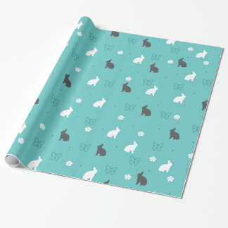 cute bunny flower and butterfly pattern wrapping paper