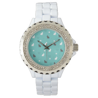 cute bunny flower and butterfly pattern wrist watch