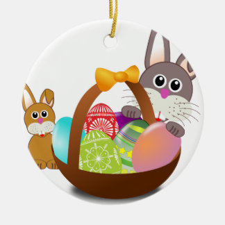 Cute bunny for happy easter day ceramic ornament