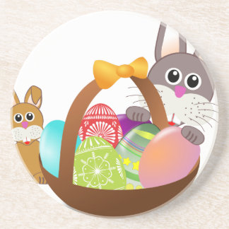 Cute bunny for happy easter day coaster