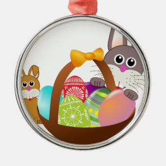 Cute bunny for happy easter day metal ornament