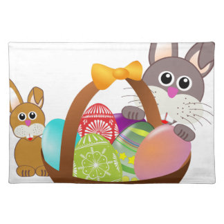Cute bunny for happy easter day placemat