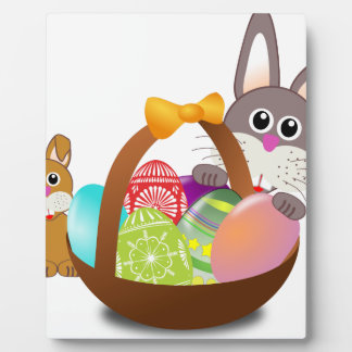 Cute bunny for happy easter day plaque