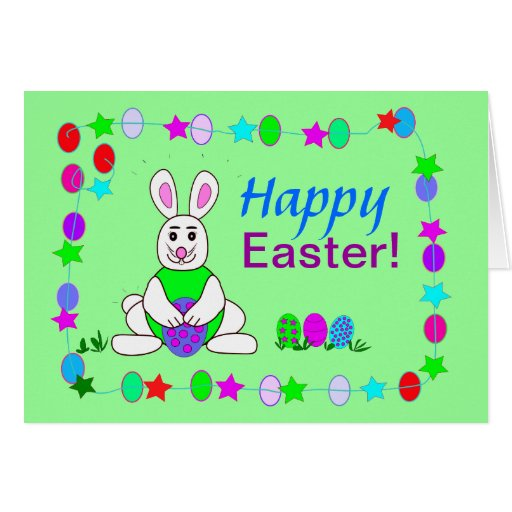Cute Bunny Happy Easter Greeting Card