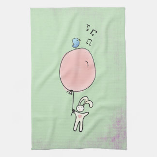 Cute Bunny Holding a Balloon Kitchen Towel