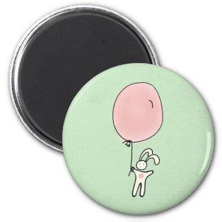 Cute Bunny Holding a Balloon Magnet
