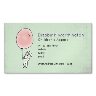 Cute Bunny Holding a Balloon Magnetic Business Card