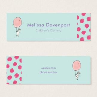 Cute Bunny Holding a Balloon Mini Business Card