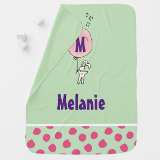 Cute Bunny Holding a Balloon Monogram Baby Blanket