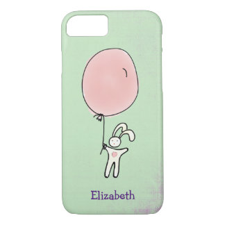 Cute Bunny Holding a Balloon Personalized iPhone 8/7 Case