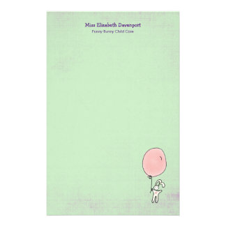 Cute Bunny Holding a Balloon Stationery