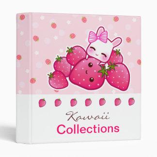 Cute bunny loves kawaii strawberry binders
