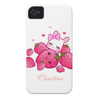 Cute bunny loves kawaii strawberry - Personalized iPhone 4 Case-Mate Cases