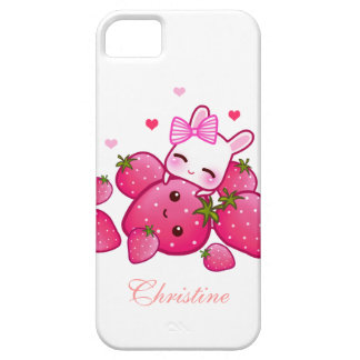 Cute bunny loves kawaii strawberry - Personalized iPhone 5 Cover