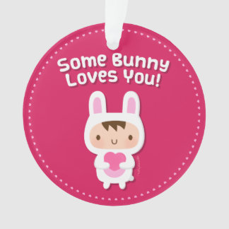 Cute Bunny Loves You Love Confession Ornament
