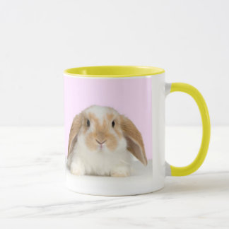 Cute bunny on a yellow-edged mug