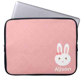 Cute Bunny on Pink Dots and Square Pattern Laptop Sleeve