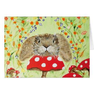 Cute Bunny peeping over Toadstool Greeting Card