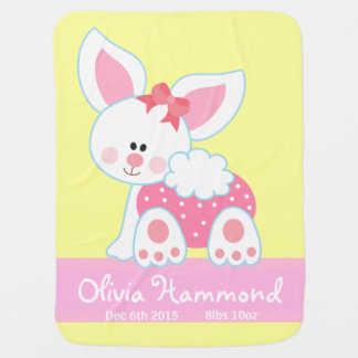 cute bunny pink customizable baby blanket