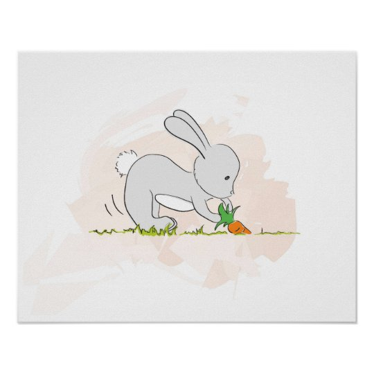 Cute Bunny poster (pulling carrot)