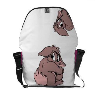 Cute Bunny   Rabbit Cartoon Shy in Pink Messenger Bag