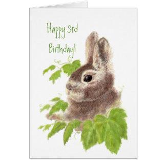 Cute Bunny Rabbit Child's  3rd Birthday Animal Card