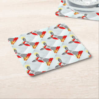 Cute Bunny Rabbit Christmas Holiday Design Square Paper Coaster