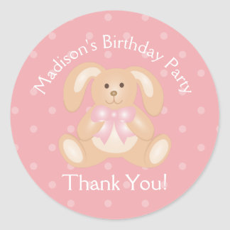 Cute Bunny Rabbit First Birthday Party Thank You Classic Round Sticker