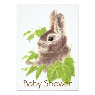 "Cute Bunny Rabbit, Garden Animal Baby Shower 5"" X 7"" Invitation Card"