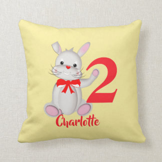 Cute Bunny Rabbit Kids Personalized Throw Pillow