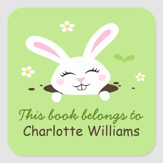 Cute bunny rabbit looking out bookplate book square sticker