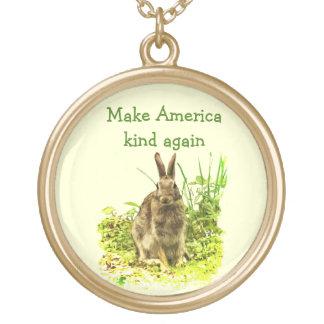 Cute Bunny Rabbit Make America Kind Again Necklace