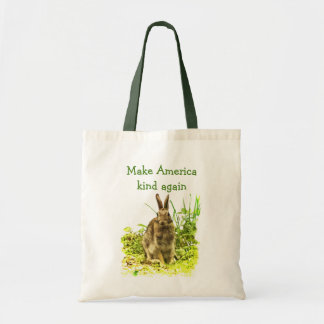 Cute Bunny Rabbit Make America Kind Again Tote Bag