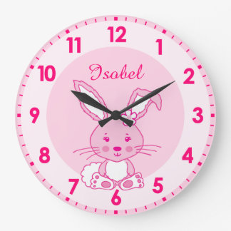 Cute bunny rabbit nursery named kids clock