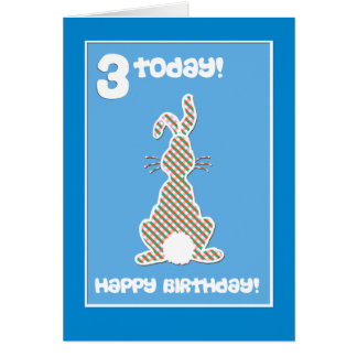 Cute Bunny Rabbit  on Blue 3rd Birthday Greeting Card