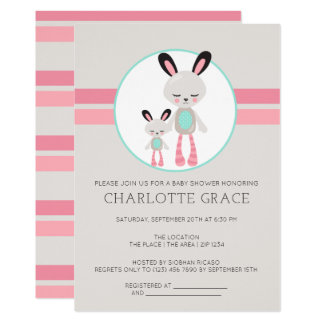 Cute Bunny Rabbit Personalized Baby Shower Card