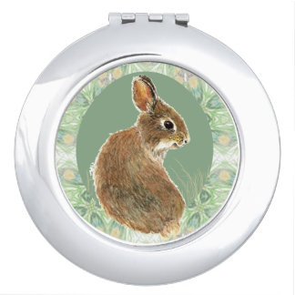 Cute Bunny Rabbit Pet Animal Pastel Custom Name Travel Mirrors