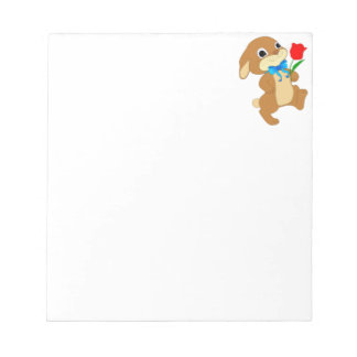 Cute Bunny Rabbit with Bow Tie Walking w/ Red Rose Notepad