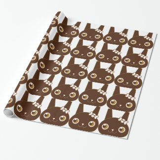 cute bunny rabbit with skull bow wrapping paper