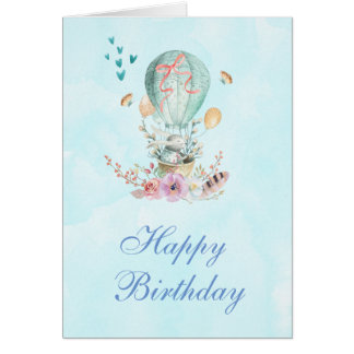 Cute Bunny Riding in a Hot-Air Balloon Birthday Card