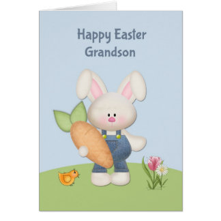 Cute Bunny with Carrot, Grandson, Easter Card