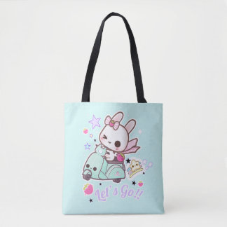 Cute bunny with kawai scooter tote bag