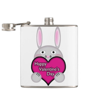 Cute Bunny with Pink Valentines Day Heart Flask